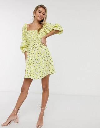 For Love & Lemons Chrysanthemum mini dress in lemonade