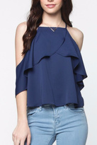 Everly Ruffle Cold Shoulder Top