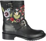RED Valentino Flowers Embroidered Black Boots