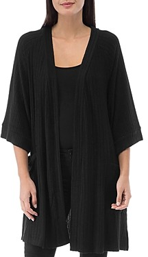 Bobeau B Collection by Ribbed Open-Front Cardigan