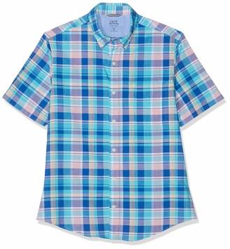 Izod Men's Dockside Big Plaid Ss Shirt Casual (Blue Radiance 477)
