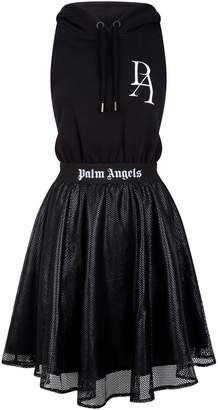 Palm Angels Cut-Out Hoodie Dress