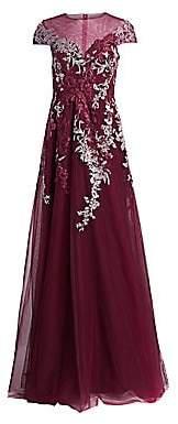 Teri Jon by Rickie Freeman Women's Chiffon Appliqué Cap Sleeve Gown