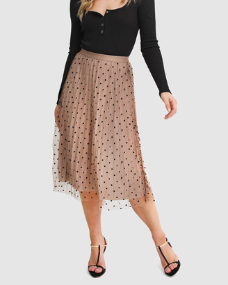 Belle & Bloom Women's Brown Midi Skirts - Mixed Feelings Reversible Skirt - Size One Size, XS-S at The Iconic