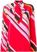 MSGM striped pussy bow blouse