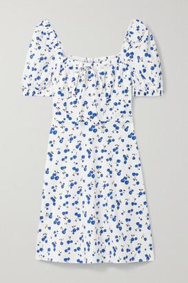 HVN Holland Printed Cotton-blend Poplin Mini Dress - White