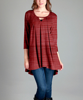 Aster Red Notch-Neck Swing Tunic - Plus - Plus Too