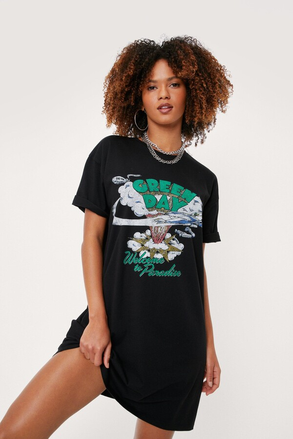 Thumbnail for your product : Nasty Gal Womens Green Day Graphic Band T-Shirt Mini Dress - Black - 8