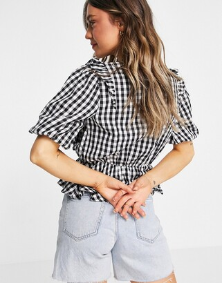 New Look gingham frill blouse in black check