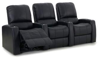Latitude Run Leather Home Theater Sofa (Row of 3) Latitude Run Upholstery: Luxe Black, Recliner Type: Power