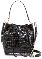 Alice + Olivia Croc Embossed Leather Bucket Bag