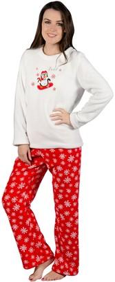 Autumn Faith Ladies Chilly Penguin Fleece Pyjama Set PJs White Top & Red Bottoms Nightwear M