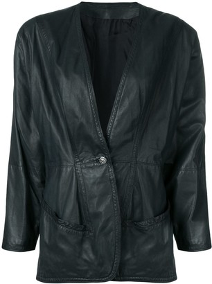 Versace Pre-Owned 1980's Leather Jacket