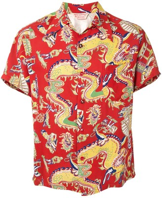 Fake Alpha Vintage 1950s Dragon Print Short-Sleeved Shirt