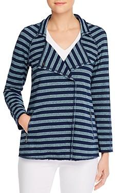 Nic+Zoe Asymmetric Striped Cotton Jacket