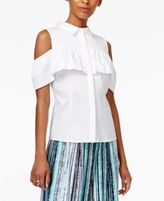 Bar III Ruffled Cold-Shoulder Blouse, Created for Macy's