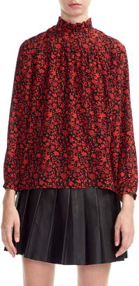 Maje Lou Floral Print Silk Top