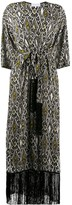 Patrizia Pepe decorative diamond print tasseled wrap coat
