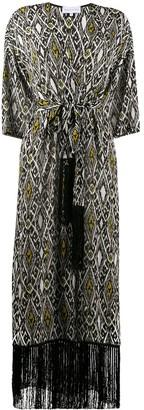 Patrizia Pepe Decorative Diamond Print Tasseled Wrap Coat