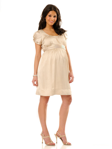 Motherhood Short Sleeve Beaded Detail Maternity Dress