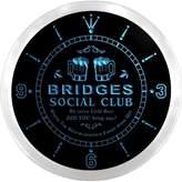 AdvPro Clock ncpz1496-b BRIDGES Social Club Bar Beer Pub LED Neon Sign Wall Clock