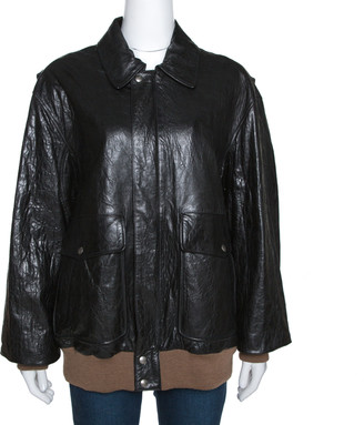 Gucci Black Lamb Leather Floral Embroidered Bomber Jacket M