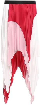 Just Cavalli Asymmetric Pleated Color-block Crepe De Chine Skirt