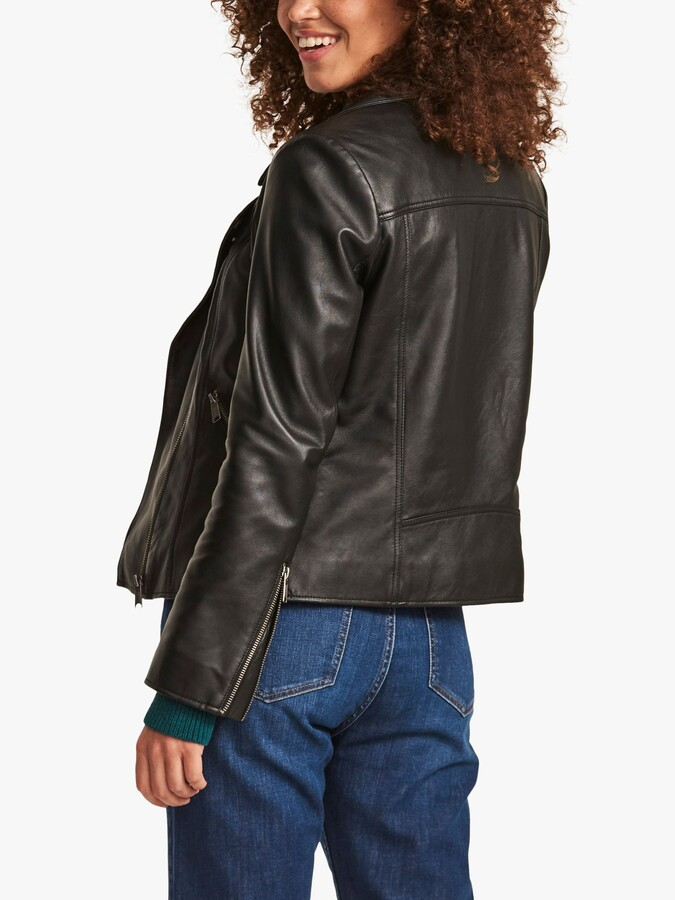 Thumbnail for your product : Fat Face FatFace Leather Biker Jacket, Black