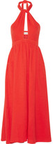 Mara Hoffman Cutout Cotton-gauze Halterneck Midi Dress - Tomato red