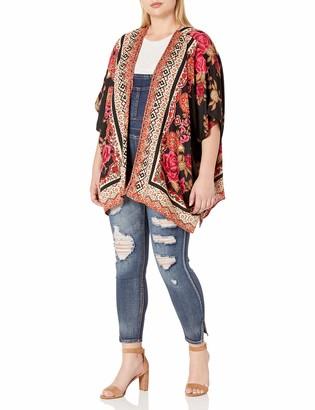 Angie Women's Plus Size Black Printed Kimono