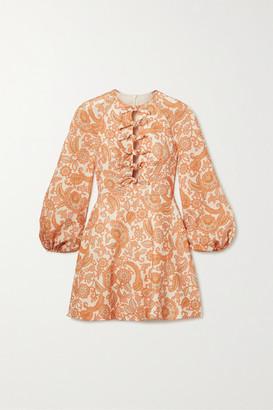 Zimmermann Peggy Tie-detailed Paisley-print Linen Mini Dress - Orange