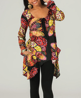 Aller Simplement Black & Yellow Abstract Sidetail Tunic