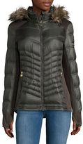 MICHAEL Michael Kors Faux Fur Trimmed Hooded Printed Jacket