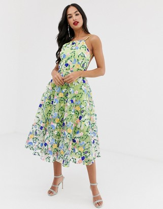 Asos EDITION floral embroidered halter prom midi dress
