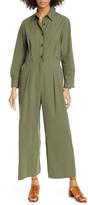 Seventy Stretch Cotton Poplin Long Sleeve Utility Jumpsuit