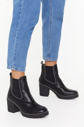 Nasty Gal Womens Block the Haters Faux Leather Studded Boots - Black - 3