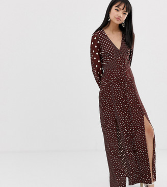 Miss Selfridge Petite maxi dress with blouson sleeve in mixed polka dot-Brown