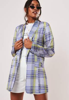 Missguided Lilac Check Long Blazer