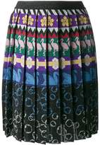 Mary Katrantzou Mandy pleated swan print skirt