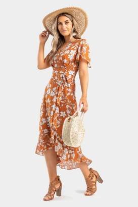 Ingrid Floral Wrap Dress - Rust