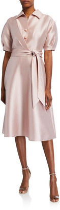 Rickie Freeman For Teri Jon Puff-Sleeve Mikado Shirt Dress
