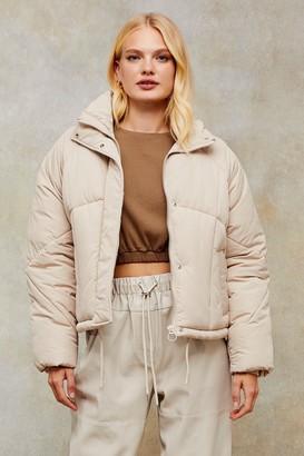 Topshop Ecru Padded Puffer Jacket