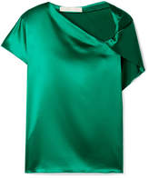 Dion Lee Knotted Silk-satin Top - Emerald