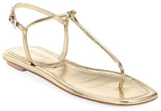 Prada Flat Metallic Leather Thong Sandals