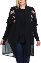 Bellino Black Embroidery-Shoulder Open Cardigan - Plus