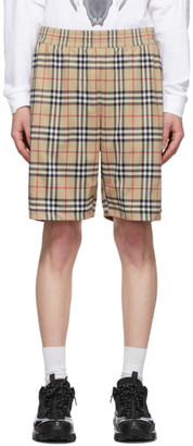 Burberry Beige Vintage Check Technical Twill Shorts