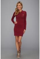 Lacoste L!VE L/S Pique Polo Dress (Beaujolais Red) - Apparel