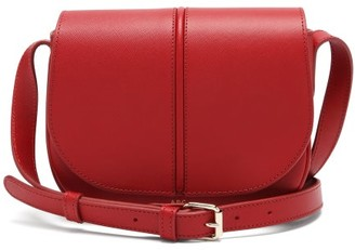 A.P.C. Betty Saffiano-leather Cross-body Bag - Dark Red