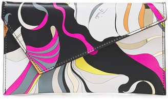 Emilio Pucci Metallic-trimmed Printed Faux Leather Envelope Clutch
