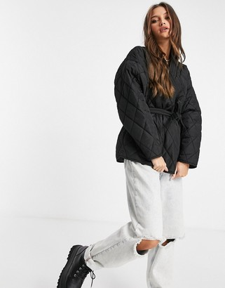 NA-KD quilted kimono jacket in black